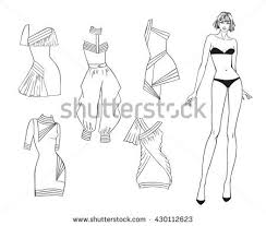 paper doll young beautiful summer stock vector 449252578