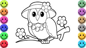 how to draw owl coloring pages animals for kids art colors for