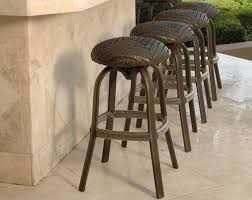 Outside Kitchen Island by Stupendous Round Padded Rattan Counter Stools In Outdoor Kitchen