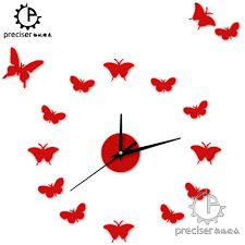 15 butterfly romantic home decor wall clock 3d diy self adhensive