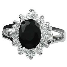 girls stone rings images Black oval stone halo cluster dress rings costume jewellery ring gift jpg