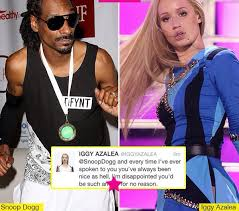 insram iggy azalea 24 is firing back at snoop dogg 42 after he posted a picture of without makeup