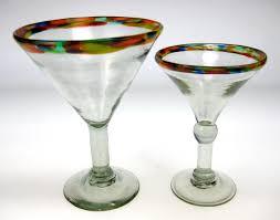 martini two martini glasses with confetti rim handblown stemware glasses made