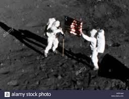 Moon Flag From Earth Apollo 11 American Flag On The Moon Surface Stock Photo Royalty