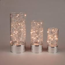 clear glass hurricane jars with micro led string light 3 pack