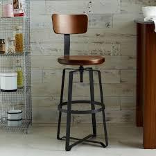 industrial metal bar stools with backs adjustable industrial swivel stool west elm