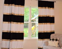 Black White Stripe Curtain Striped Curtains Etsy