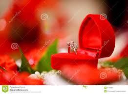 diamond wedding ring in red heart box royalty free stock