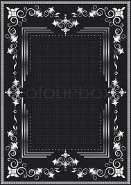 decorative frame for silver decor on a black background stock