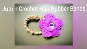 crochet bands jute hair rubber bands with crochet flower diy hair accessories