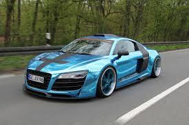 Audi R8 Blue - performance audi r8 chrome blue car tuning