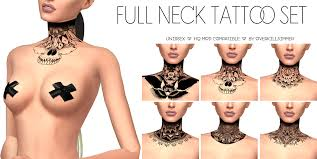 sims 4 cc u0027s the best full neck tattoo set by overkill simmer