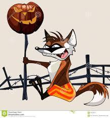 cartoon funny fox holding a halloween pumpkin on a stick stock