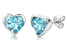 byjoy jewellery byjoy 925 heart shape sky blue topaz stud earrings jewellery