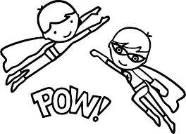 superheroes super hero kids pow coloring page wecoloringpage