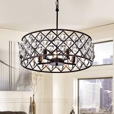 Crystal And Bronze Chandelier Azha 5 Light Crystal Drum Chandelier Ceiling Fixture Oil Rubbed