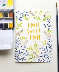 mom sweet mom hand painted watercolor mother u0027s day card u2013 lemon