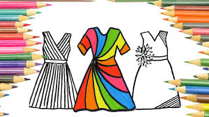 drawing and coloring rainbow dresses coloring pages for kids youtube