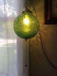 Green Glass Pendant Light Green Glass Hanging Swag Lamp Retro By Storytellersvintage