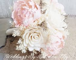 Shabby Chic Bridal Bouquet by Blush Pink Ivory Sola Bouquet Blush Wedding Burlap Lace