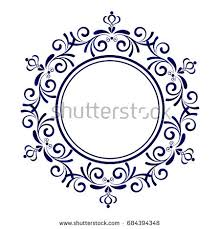 blue ornamental frame decorative vector stock vector 684394348