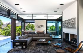 luxury concrete home interior with dark brown l sectional couch