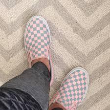 light pink checkered vans vans shoes checker pastel pink and soft grey slip ons poshmark