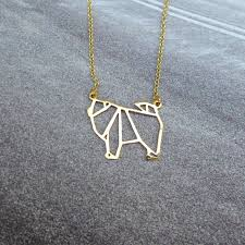 wholesale animal necklace images Wholesale trendy personalized origami chow chow necklace gold jpg