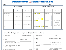 present simple vs present continuous worksheets by mariapht