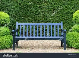 blue bench garden stock photo 272681213 shutterstock
