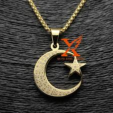 aliexpress moon necklace images Stainless steel gold silver allah muslim islamic crescent moon and jpg