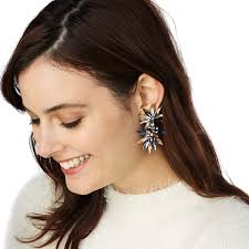 big earing brand top selling flower big earring with multicolor clear