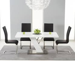 White Dining Table With Black Chairs Buy The Palma 160cm White High Gloss Dining Table With Malaga