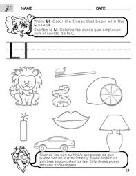 letter l sound worksheet with instructions translated into spanish