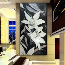 online get cheap glass mosaic murals aliexpress com alibaba group customized mural wall glass mosaic tile black white lily floral living room fireplace background bathroom shower wall floor tile