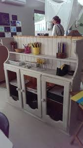 Preschool Kitchen Furniture Re Purposed Kitchen Cabinet Used As A Classroom Storage Shelve At