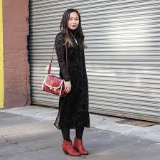women u0027s black lace turtleneck black velvet midi dress red