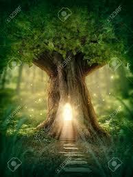 imagenes de archivo libres de derechos casa del árbol de la fantasía con la luz en el bosque fotos