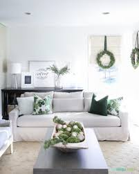 living rooms with white furniture christmas home tour green and white living room and dining room