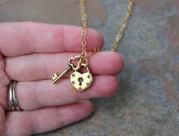 gold lock necklace images Key to my heart necklace gold lock key 14k gold filled chain jpg