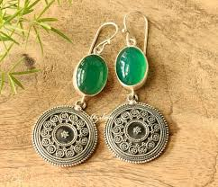 earrings online india green onyx silver artisan ethnic earrings online in india