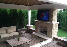outdoor gas fireplace with television by fine u0027s gas traditional