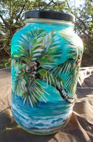 tropical palm tree painted gallon glass jar by dawntarr
