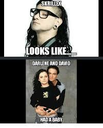 Skrillex Meme - skrillex looks like darlene and david had a baby skrillex meme on