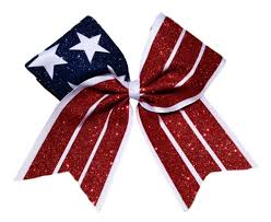 white and blue bows patriotic american white and blue flag cheer bow