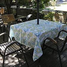 tablecloth for patio table with umbrella amazon com fanjow zippered umbrella tablecloth 60 square polyester