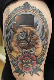 cat in frame with rose tattoo design for half sleeve by phatt german