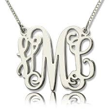 sterling silver monogram necklace pendant best 25 monogram necklace silver ideas on monogram