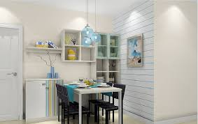 3d minimalist dining room blue wallpaper and pendant lights 3d house