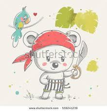 invitation card cartoon design cute little bear pirate cartoon hand drawn vector illustration can